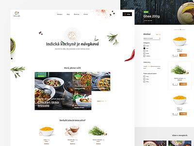 Indian cuisine webdesign clean blue white ux ui