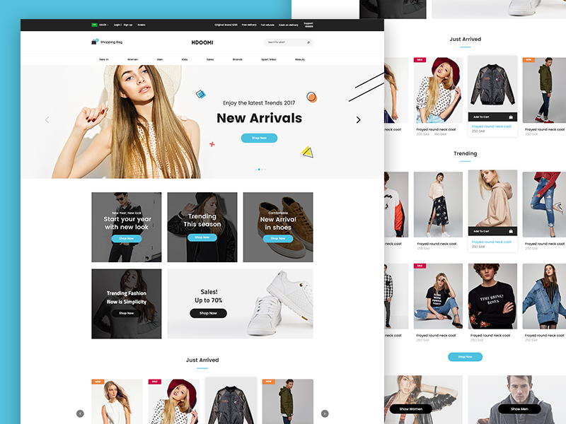 Hdoomi - Homepage store shop ecommerce ui ux clean home design website web