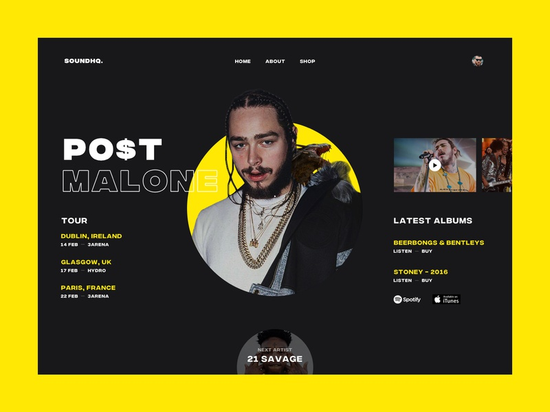 Post Malone simple sound music artist post malone typography ui web design