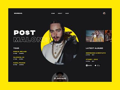 Post Malone simple sound music artist post malone typography ui web design