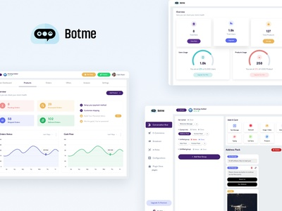 BotMe - Conversational Bot Builder product design product dashboard bot design interaction website clean ux ui web