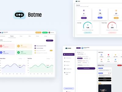 BotMe - Conversational Bot Builder product design product dashboard bot design interaction website clean ux ui web