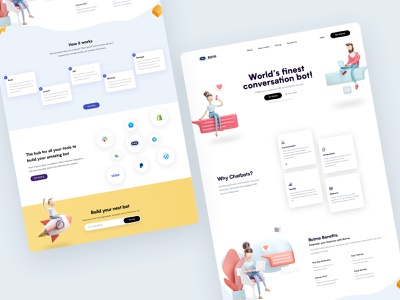 BotMe - Landing Page marketing bot ui ux design landing page animation web clean illustration website home design ux ui