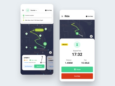 🛴 Scooter Rental App app design concept app iphone xs ios mobile app design scooter rental app ui designer ui ux design user experience user interface design ux visual interface application clean home
