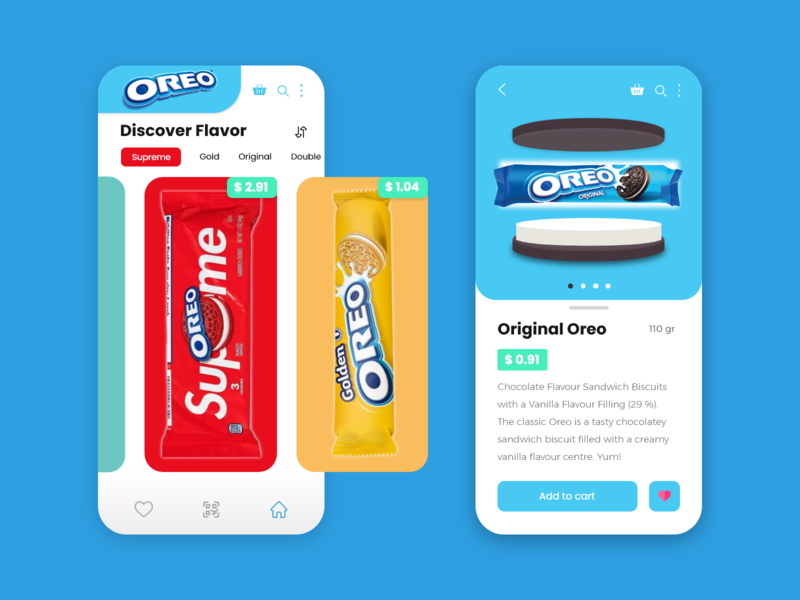 Oreo Mobile App supreme 3d yummy onlinestore food mobiledesign mobileapp uiux ui blue oreo