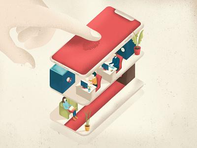 Mobile Banking security editorial illustration fingers fingerprint isometric illustration banking mobile banking