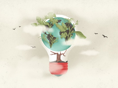 Ecology earth globe birds editorial illustration green jungle bulb ecology