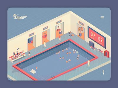 D Team web illustration burger menu ux ui interaction web waterpolo