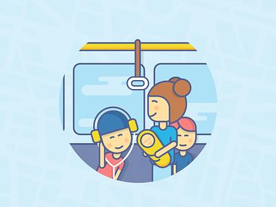 Metro outline public transport passengers icon illustration character metro