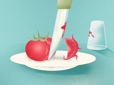 RUN Tomato, RUN! cook fun illustration run knife tomato