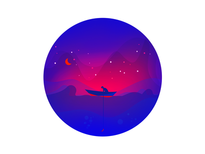 Night Fishing #2 icon waves moon boat ocean fisherman night