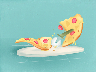 Pizza Panic delicious slice roll knife sausage illustration cheese food pizza