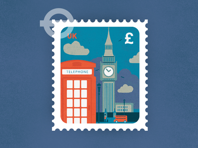 Queen's Guard tower big ben london red bus illustration stamp guard postage