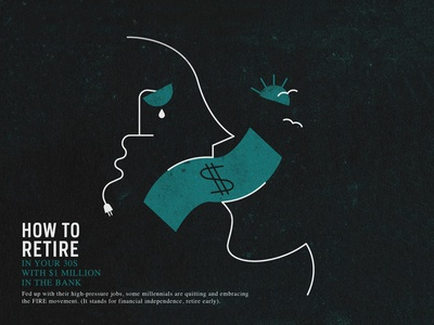 How To Retire artdirection conceptual line art grunge print editorial illustration