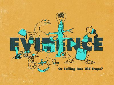 Evidence doodle trap evidence editorial illustration print ad design vector illustration