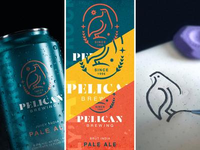 Pelican Brewing 2 etiquette bird logo work in progress sketching packaging can pelican vector illustration beer can beer