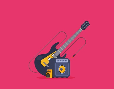 Guitar in flat style