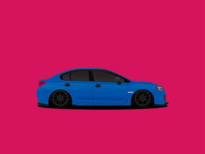 Subaru WRX STi tuning sport race wrx sti subaru car design flat illustration vector