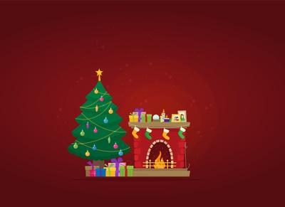 Christmas illustration - fireplace and tree with gifts