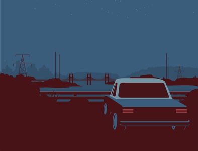 Retro poster with car