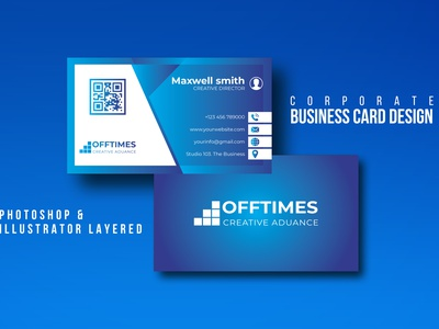 BUSINESS CARD DESIGN business cards creative design blue color id card design typography design visiting card design qr code gredient unique business card modern design business card design template graphicdesign business card design
