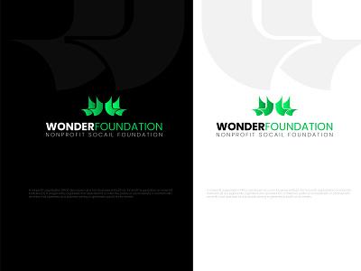 WONDER FOUNDATION   Nonprofit socail ux gredient ui logodesign branding illustrator abstract symbol corporate letters nonprofit foundations hand support wordmark logo desing international entrepreneurs development wordmark