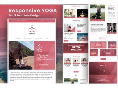 Responsive HTML Email Template Design mailchimp web design web flat minimal ux ui app design trend 2021 2021 physical exercise exercise coaching yoga logo newsletter email template responsive html yoga