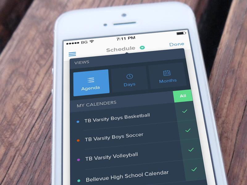 Calendar Filter calendar filter ios ios7 mobile menu app flat minimal