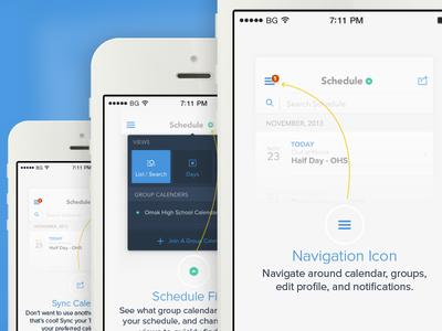 Tandem Onboarding ios ios7 onboarding tutorial walkthrough scheduling mobile clean flat minimal app