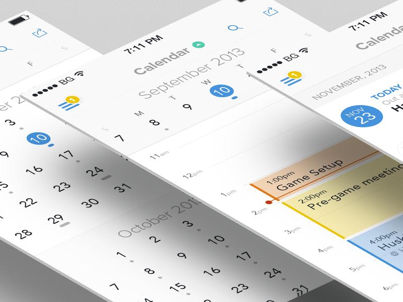 Mobile Calendar  ios ios7 iphone app mobile calendar schedule clean flat minimal