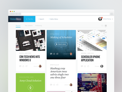 Content feed section clean ui website web app content feed ugc tiles