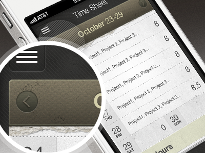 Time Entry iOS Application UI ui iphone ios mobile texture time entry skeuomorphic detail icons app