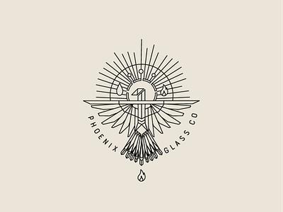 Phoenix Glass Co Logo Design vector icon design monochrome symmetrical geometric logo geometric design branding logo design edgy logo monoweight monoweight illustration monoline branding design