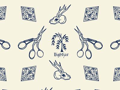 Nightjar Hotel Branding edgy logo blackletter typography brand illustration illustration design boutique logo boutique hotel branding design