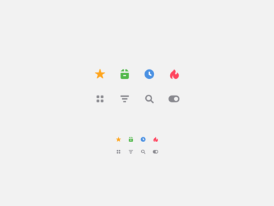 Icons for product card and list