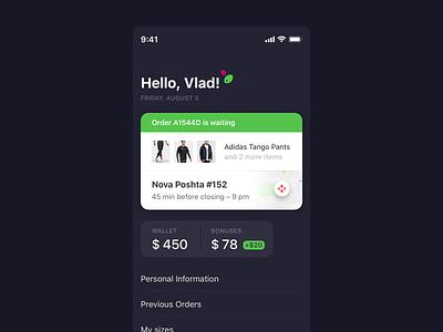Profile and Orders profile order orders dark blue dark app app ios