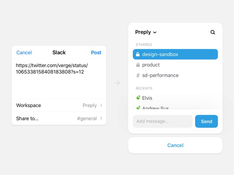 Slack Share View channels dialogs view post message send share app ios slack