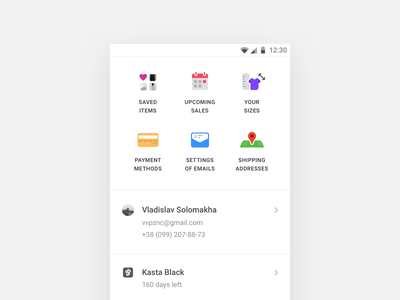 Kasta Profile Tab profile colors light ux ui design app material design material android