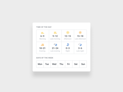 Preply Availability Filter web ux ui tutors sorting filters timeslots time icon weather icon weather icons afternoon night morning day availability time date sort filter