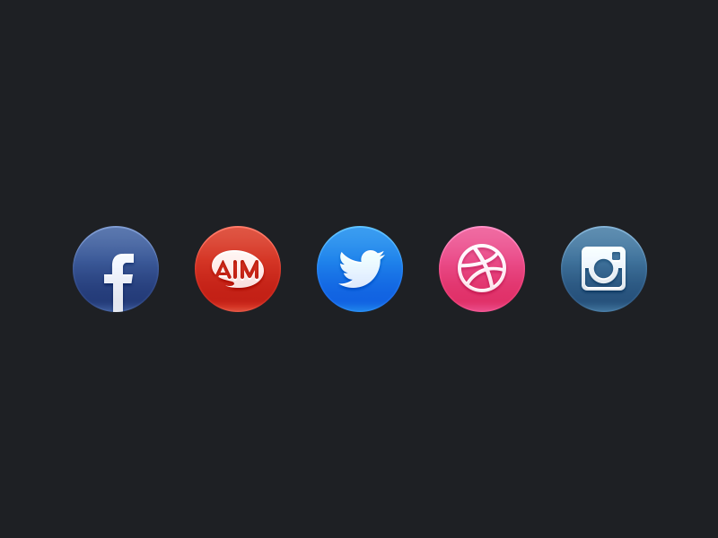 Social icons social icons website portfolio gloss aim dribbble instagram facebook twitter