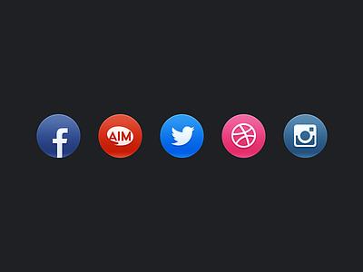 Social icons social icons website portfolio gloss aim dribbble instagram facebook twitter