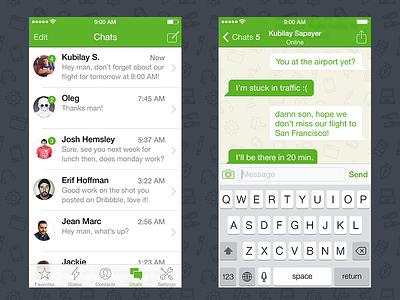 WhatsApp iOS 7 Redesign ios7 design flat ui user interface iphone yay