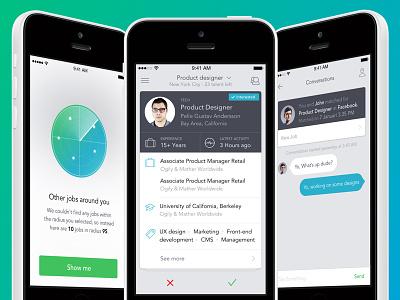 Job search app UI interface ios 3drops switch ui