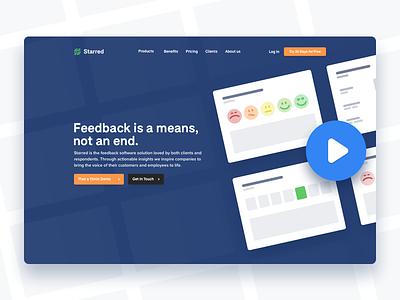 Starred Landingpage feedback website starred