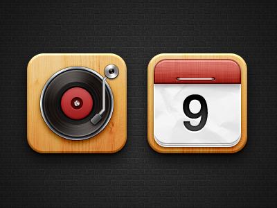 Music & Calendar  icon ios ipad 3 4 5 6 free psd music calendar