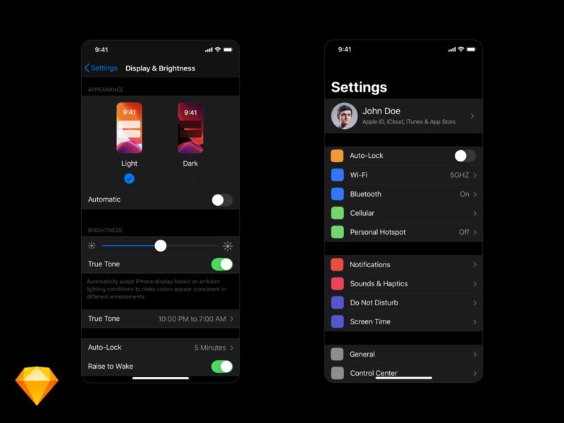 iOS 13 Darkmode - Settings panel template brightness display settings ios icon ios 13
