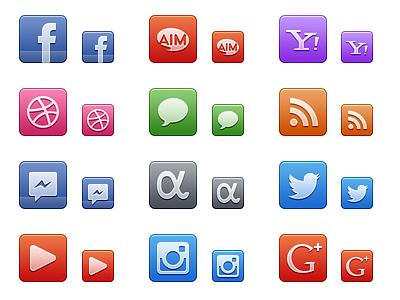 48px & 32px Social icon set social 48 32 set