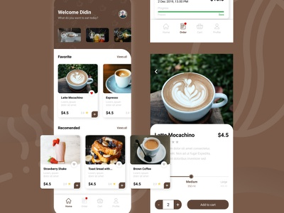 Coffee Cafe App mobile design mobile app mobile ui webdesign figmadesign figma ui ux uiux frontend development design frontend design adobexd