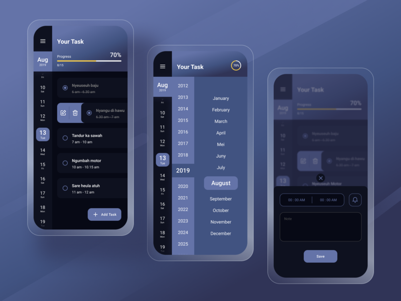 Simple Task Management (Dark Mode) figmadesign mobile ui figma design mobile design mobile app figma webdesign ux uiux ui