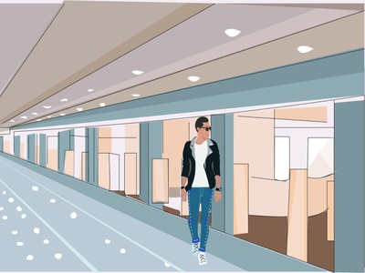 The boy at thr airport illustrator boy vector illustration